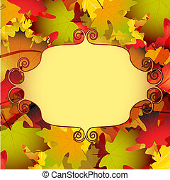 Beautiful autumn background with leaves and mirror frame