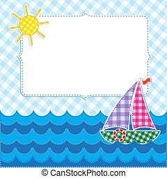 Frame with colorful sailboat