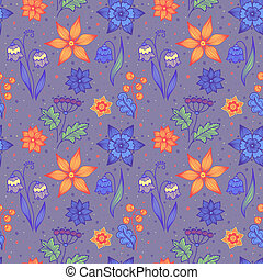 Seamless bright striped flowers - Bright seamless background...