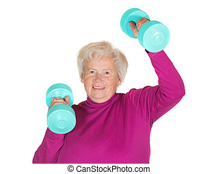 Senior lady working out with weights - Enthusiastic senior...