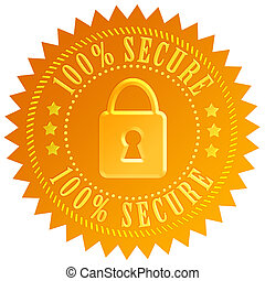 Secure padlock emblem isolated on white