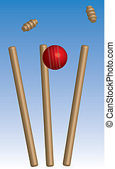 Cricket ball hitting wickets with blue sky.