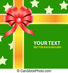 Gift ribbon bow on green background