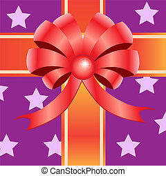 Gift ribbon bow on purple star