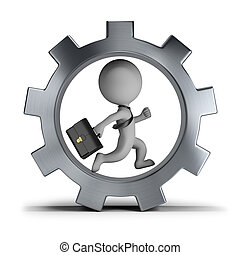 3d small people - businessman in the gear wheel - 3d small...