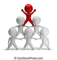 3D, pequeno, pessoas, -, piramide, sucesso