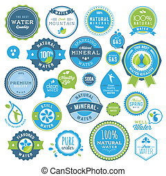 Set of water badges and stickers - Set of vector badges and...