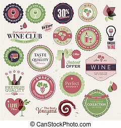 Set of labels and elements for wine - Set of vector labels...