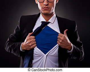 Cropped view of super business man - Cropped view of young...