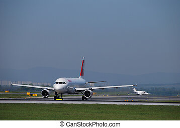 swiss airlines on runway - the swiss airlines plane on...