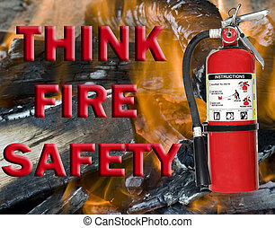 think fire safety sign with extinguisher and flames in the...