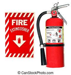 fuego, Extintor, aislado, señal