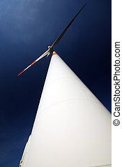 windturbine with dark blue polarized sky