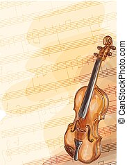 Violin on music background with handmade notes. Watercolor...