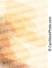 Bsckground with handmade musical notes. Vector illustration.