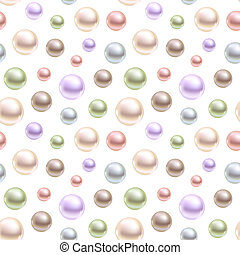 Spherical pearls of different colors. Seamless vector...