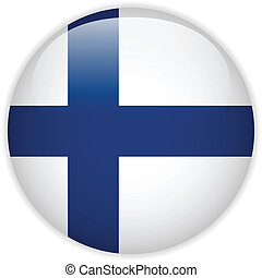 Finland Flag Glossy Button - Vector - Finland Flag Glossy...