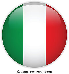 Italy Flag Glossy Button - Vector - Italy Flag Glossy Button
