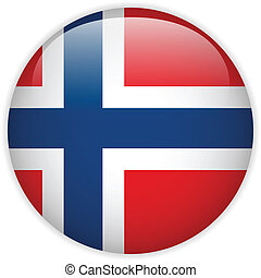 Norway Flag Glossy Button - Vector - Norway Flag Glossy...