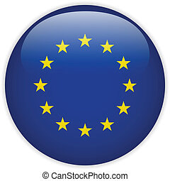 Europe Flag Glossy Button - Vector - Europe Flag Glossy...