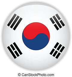 South Korea Flag Glossy Button - Vector - South Korea Flag...