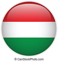 Hungary Flag Glossy Button - Vector - Hungary Flag Glossy...