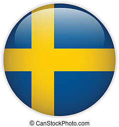 Sweden Flag Glossy Button - Vector - Sweden Flag Glossy...