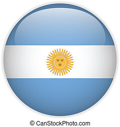 Argentina Flag Glossy Button - Vector - Argentina Flag...