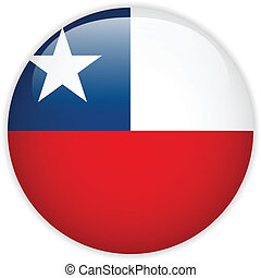 Chile Flag Glossy Button - Vector - Chile Flag Glossy Button