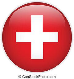 Switzerland Flag Glossy Button - Vector - Switzerland Flag...