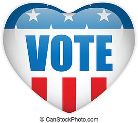 United States Election Vote Heart Button - Vector - United...