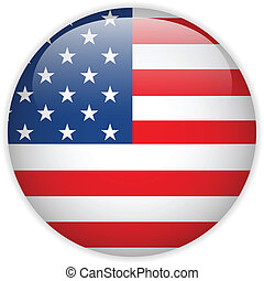United States Flag Glossy Button - Vector - United States...