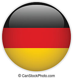 Germany Flag Glossy Button - Vector - Germany Flag Glossy...