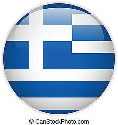 Greece Flag Glossy Button - Vector - Greece Flag Glossy...