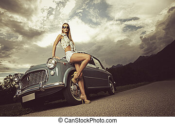 Fashion model Vintage image - Fashion model with vintage...