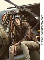 Beautiful woman aviator: vintage photo - Portrait of young...