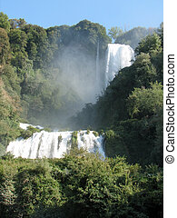 triple jump of the amazing waterfalls of marmore in Umbria
