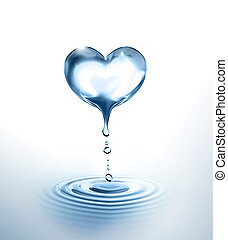water heart - dripping Heart over the water