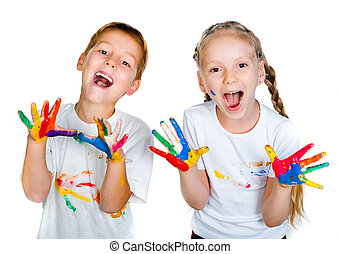 kids with 0b 0bhands in paint - kids with hands in paint...