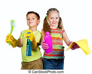 kids with detergent