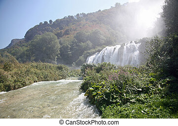 fabulous Marmore Falls in the province of Terni in Italy