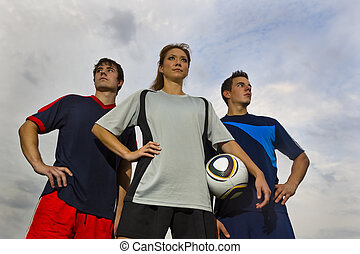 Soccer Players - Image of male and female soccer players...