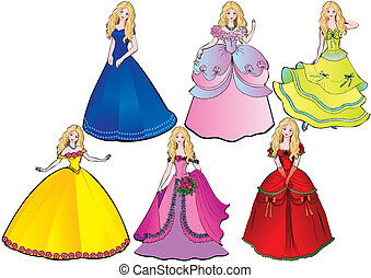Princess. - Princess in different dresses. Vector...