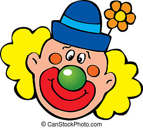 Clown - Happy clown Vector art-illustration on a white...