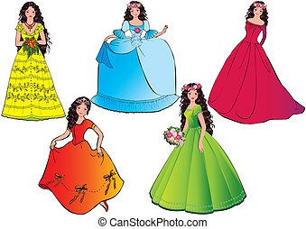 Princess - Princess in different dresses Vector...