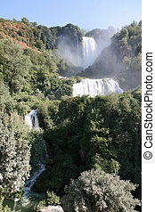 incredible and very high Marmore falls in the middle of...