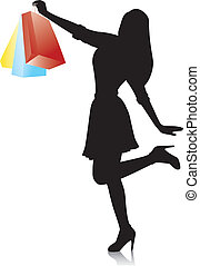 Young woman shopping - Happy young woman with shopping bags