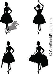 ladies silhouettes - ladies from fifties in silhouette with...