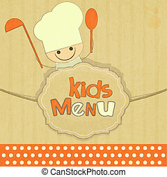 Design of kids menu with smiling chefs in Retro Style -...