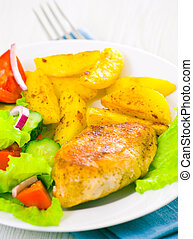 chicken fillet with fresh vegetable